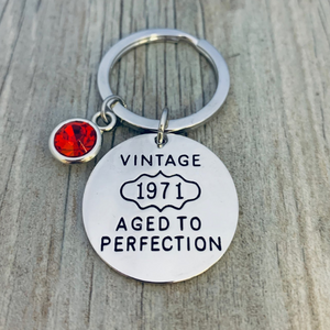 1971 Aged to Perfection Keychain, 50th Birthday Gifts for Men & Women - Infinity Collection
