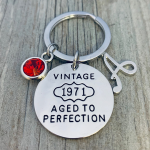 Personalized 1971 Aged to Perfection Keychain, 50th Birthday Gifts for Men & Women
