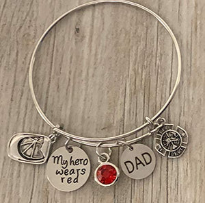 Firefighter Daughter Charm Bangle Bracelet, Dad-My Hero Wears Red Jewelry Gift