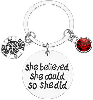 Firefighter Keychain, She Believed She Could So She Did - Infinity Collection