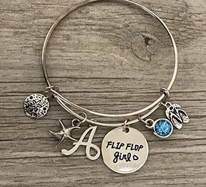 Personalized Beach Bracelet with Initial Charm, Custom Flip Flop Girl Bracelet, Summer Beach Jewelry, Gift for Beach Girls - Infinity Collection