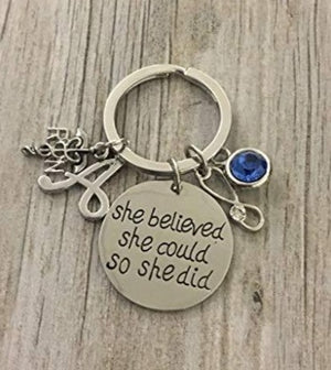 Personalized Nurse Keychain, Custom Nursing Jewelry, She Believed She Could So She Did Nurse Gift - Show Your Nurse Appreciation - Infinity Collection