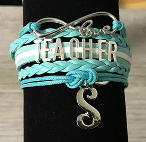 Personalized Teacher Charm Infinity Bracelet with Letter Charm - Infinity Collection