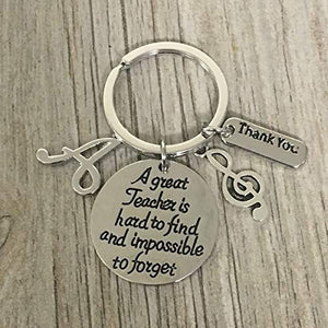 Personalized Music Teacher Keychain with Letter Charm