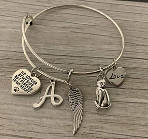 Personalized Cat Memorial Bracelet with Letter Charm, Custom Cat Charm Jewelry - Infinity Collection
