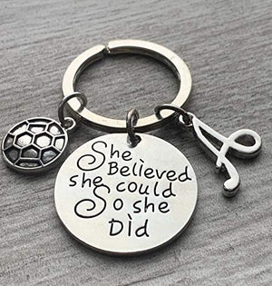 Personalized Soccer Keychain with Letter Charm, Custom Soccer Gift, Girls Soccer Jewelry - Infinity Collection