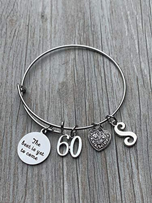 Personalized 60th Birthday Initial Bangle Gifts for Women,The Best is Yet To Come 60th Birthday Charm Bracelet - Infinity Collection