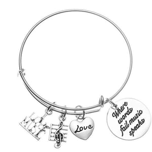 Music Bracelet - Where Words Fail Music Speaks Bangle - Infinity Collection