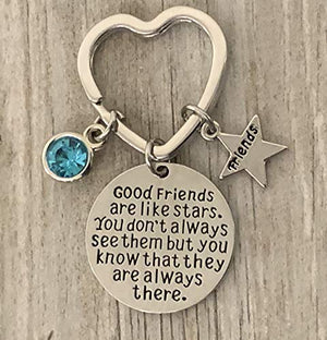 Personalized Best Friends Birthstone Charm Keychain- Custom Good Friends are Like Stars Key chain- Friend Jewelry for Women- Perfect Gift for Her - Infinity Collection