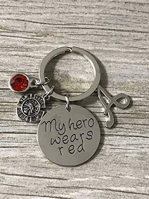 Personalized Firefighter Keychain, My Hero Wears Red Jewelry Gift - Infinity Collection