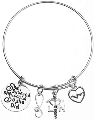 LPN Charm Bracelet - She Believed She Could So She Did - Infinity Collection