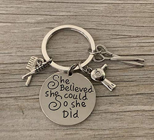 Infinity Collection Hairdresser Jewelry, Hair Stylist Charm Keychain, She Believed She Could So She Did Keychain, for Stylists - Infinity Collection