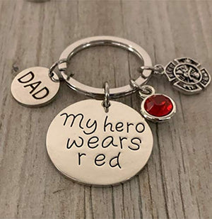 Firefighter Keychain, Dad-My Hero Wears Red Jewelry Gift