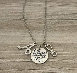 Personalized Nurse Necklace, Nurse Gift, Nursing Necklace Makes Perfect Nurses Gift - Infinity Collection