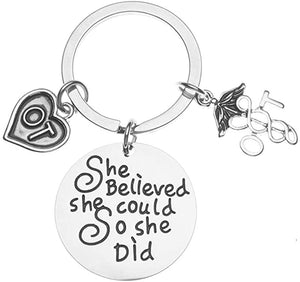 Therapist She Believed She Could So She Did Keychain, Inspirational Key Ring Gift for Women