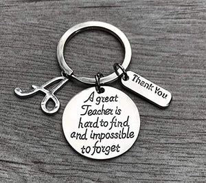 Personalized Teacher Keychain, Great Teacher is Hard to Find But Impossible to Forget Teacher Jewelry