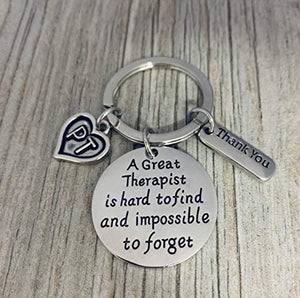 Physical Therapy Keychain - Physical Therapy Jewelry - Perfect Gifts for Physical Therapists, A Great Therapist is Hard to Find but Impossible to Forget - Infinity Collection