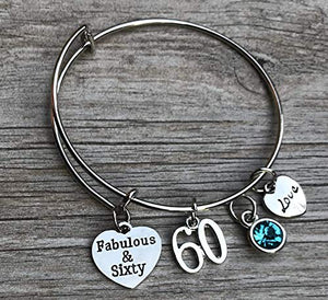 60th Birthday Bangle Bracelet with Birthstone Charm, Fabulous and Sixty Birthday Gifts for Women, Vintage 1959 Aged to Perfection Bracelet. 60th Bday Gifts for Her - Infinity Collection