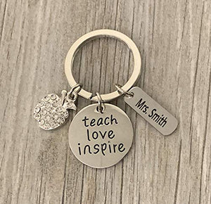 Personalized Teacher Keychain with Engraved Name Charm, Teach Love Inspire Jewelry - Infinity Collection