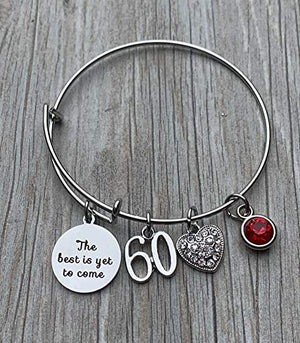 Personalized 60th Birthday Birthstone Bangle Gifts for Women,The Best is Yet To Come 60th Birthday Expandable Charm Bracelet - Infinity Collection