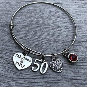 50th Birthday Bangle Bracelet with Birthstone Charm, Fabulous and Fifty Bracelet - Infinity Collection