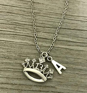 Personalized 13th Birthday Charm Necklace with Letter Charm- Girls Thirteenth Birthday Jewelry - Sweet 13 Gift- Perfect Birthday Gift For Girls - Infinity Collection