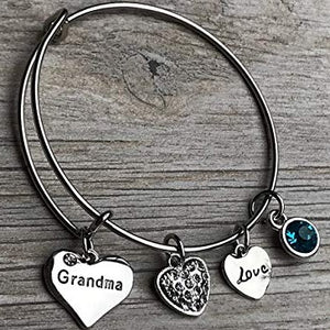 Personalized Grandma Birthstone Charm Bangle Bracelet, Mothers Day Jewelry, Gift for Grandmother - Infinity Collection