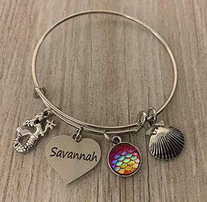 Personalized Mermaid Charm Bangle Bracelet with Engraved Name Charm, Mermaid Sequin Tail Jewelry for Girls, Teens and Women. - Infinity Collection