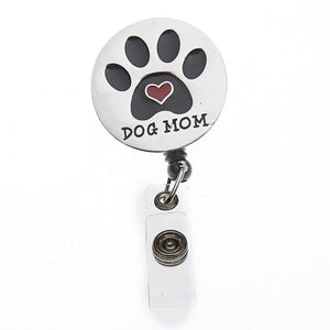 Dog Mom Retractable ID Badge Reel with Swivel Clip - Infinity Collection