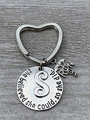 Personalized Nurse Keychain, Custom Nursing Jewelry, She Believed She Could So She Did Nurse Gift - Show Your Nurse Appreciation - RN Gift for Women - Infinity Collection