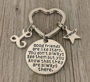 Personalized Best Friends Charm Keychain with Letter Initial- Custom Good Friends are Like Stars Key chain- Friend Jewelry for Women- Perfect Gift for Her - Infinity Collection