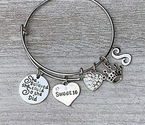 Personalized Sweet 16 Solid Heart She Believed She Could So She Did Initial Charm Bangle Bracelet- Sweet 16 Jewelry - Infinity Collection