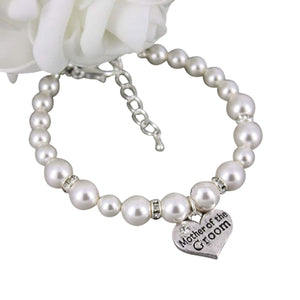 Mother of the Groom Gift - Mother of the Groom Bracelet, Fashion Pearl Bracelet for MOG. Makes the Perfect Bridal Party Gift For Mother of the Gro