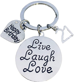 21st Birthday Keychain, Live Laugh Love Twenty First Birthday Jewelry Birthday Gift for Women - Infinity Collection