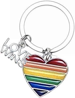 Love Wins Keychain, Gay Pride Awareness Rainbow Striped Heart Charm - Infinity Collection