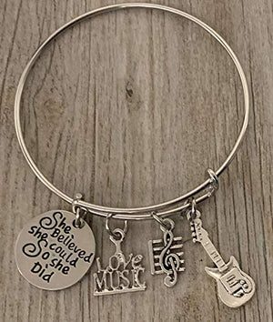 Music Guitar Bracelet - Music Jewelry - Music Gift - Guitar Jewelry - Music Note-Music Lover Jewelry Gift - Infinity Collection