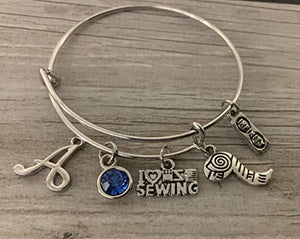 Personalized Sewing Jewelry with Letter and Birthstone Charm- Custom Sewing Gift, Sewing Bracelet, Handmade Sewing Gifts, Perfect Gift for Quilters or Sewers - Infinity Collection
