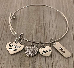 Personalized Maid of Honor Bridesmaid Charm Bangle Bracelet, Bridesmaid Proposal, Will You Be My Bridesmaid, Tie the Knot Gift for Teens and Women - Infinity Collection