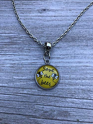 Save The Bees Necklace, Help Save The Honeybees Awareness Jewelry, Save The Planet Charm Pendent for Women and Girls - Infinity Collection