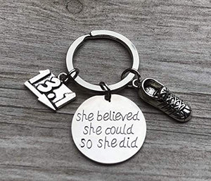 Half Marathon Runner Gifts- She Believed She Could So She Did Runner Keychain - Infinity Collection