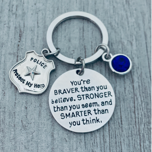 Police Keychain- Braver than You Believe