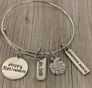 Personalized Teacher Retirement Bracelet - Infinity Collection