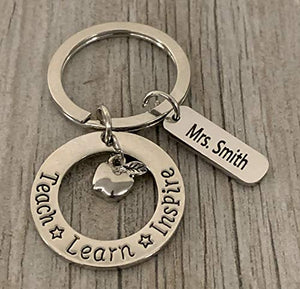Personalized Teacher Keychain with Engraved Name Charm, Custom Teacher Jewelry, Teacher Gift - Show Your Teacher Appreciation - Infinity Collection