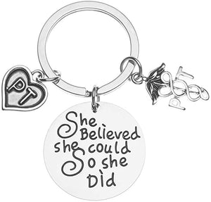 Physical Therapist Believed She Could So She Did Keychain, Inspirational PT Key Ring Gift for Women