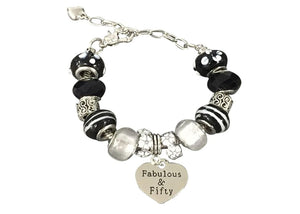 50th Birthday Beaded Bracelet - Infinity Collection