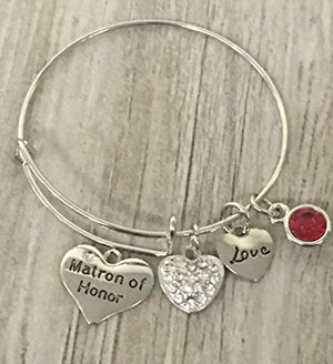 Personalized Matron of Honor Bangle Bracelet, Custom Matron of Honor, Bridesmaid Bracelet, Perfect Gift For Matron of Honor - Infinity Collection