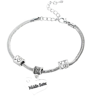 Middle Sister Bracelet -Sister Jewelry- Sister Charm Bracelet- Perfect Gift for Sisters