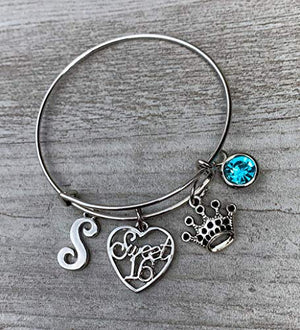 Personalized Sweet 16 Birthstone and Initial Charm Bangle Bracelet- Sweet 16 Jewelry - Sweet Sixteen Gift- Perfect Birthday Gift For Girls - Infinity Collection