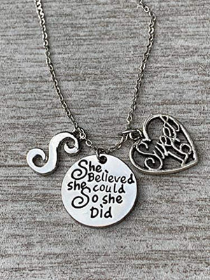 Personalized Sweet 16 Charm Birthday Necklace with Letter, Custom She Believed She Could Sweet Sixteen Jewelry Birthday Gift For Girls, 16th Birthday Pendant - Infinity Collection