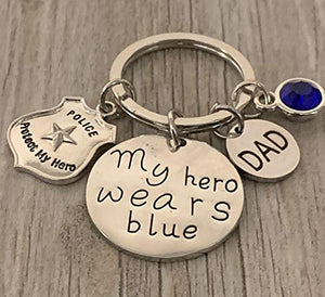 Police Charm Keychain, My Hero Wears Blue Key Chain, Police Son or Daughter Gift - Infinity Collection